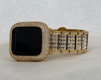 Gold Apple Watch Band 38mm 40mm 42mm 44mm Rolex Style & or Lab Diamond Bezel Cover Gift for Her Him Custom Handmade