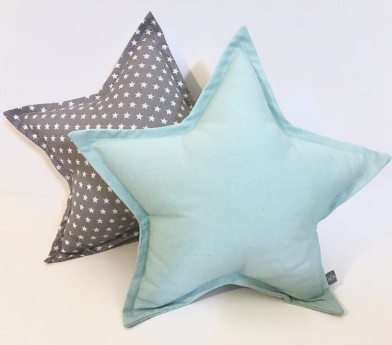 stern kissen set grau sternkissen mint sternkissen kinder etsy. Black Bedroom Furniture Sets. Home Design Ideas