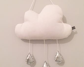 White Cloud With Rain Drops Mobile | Rain Cloud Cushion | Decorative Cloud Pillow | Nursery Decor | Baby Pillow | Room Decor | White Pillow