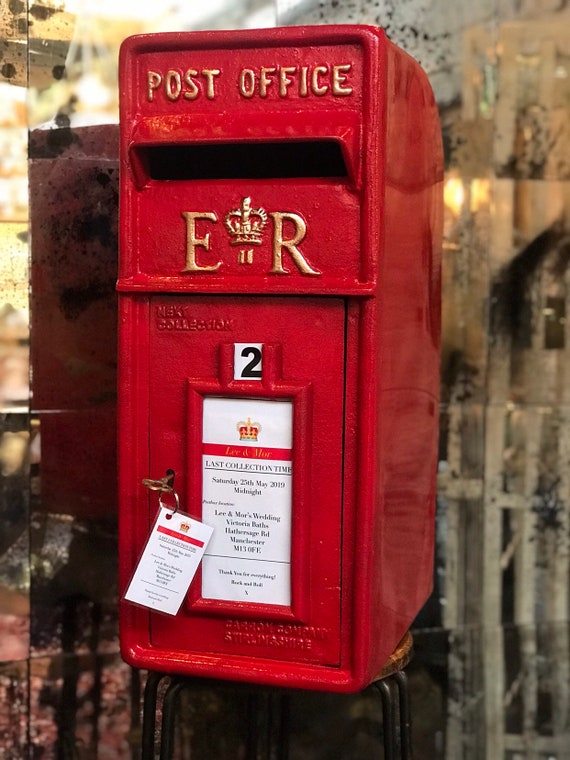 RED POST BOX: for wedding prop hire. Includes bespoke door plaque & 2 keepsake key rings. Must be able to collect and return to WA14 area.