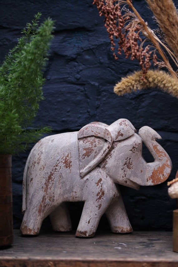 HAND CARVED ELEPHANT : Rustic wooden elephant statue / ornament made in India