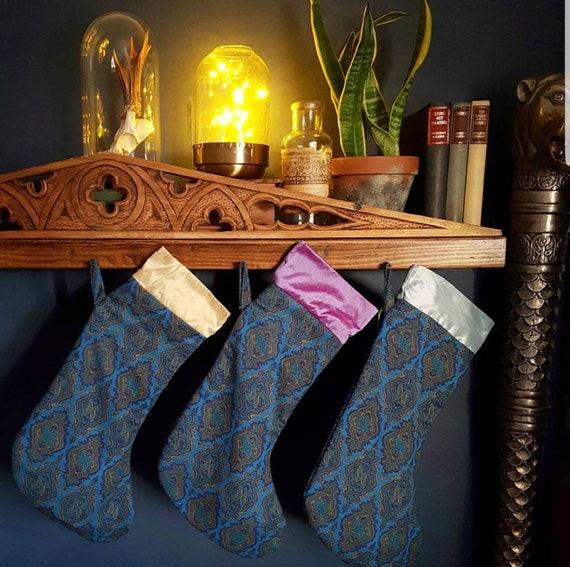 CHRISTMAS STOCKING: Real silk and paisley Xmas stocking