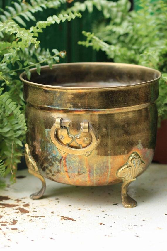 VINTAGE BRASS PLANTER : cauldron shaped plant pot with handles