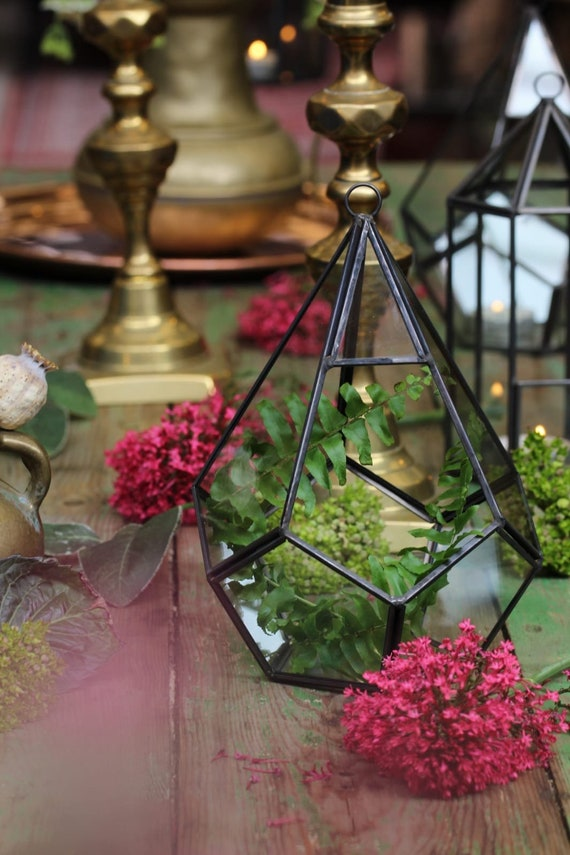 HAND MADE TERRARIUM : made from antiqued brass and glass