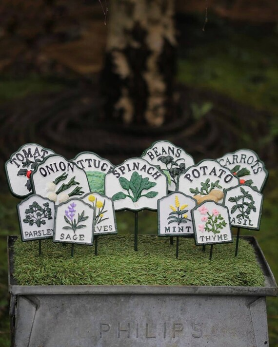 METAL VEGETABLE MARKERS : vintage victorian inspired cast iron veg markers /labels