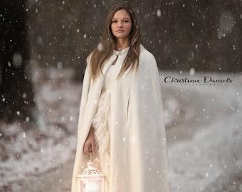 Wedding Cape, Hooded Bridal Cape Cloak