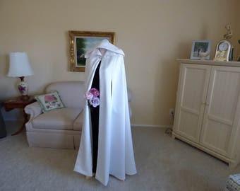 Matte Satin Hooded Bridal Wedding Cape