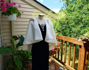 Short Hooded Bridal Cape High-Low Wedding