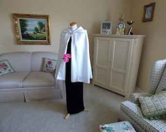 Hooded Satin Bridal Cape Short Wedding Cloak