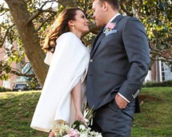 Wedding Cape Cloak, Bride Jacket Coat, Short Hooded Bridal Cloak