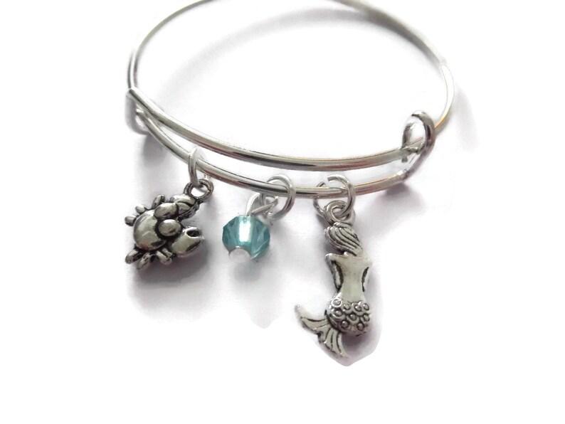 little mermaid bangle Mermaid gift princess favors princess party princess gift littlecharmco mermaid favours mermaid charm bracelet