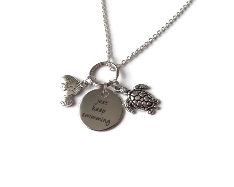 Just keep swimming necklace litter mermaids fish charm necklace bangle keyring