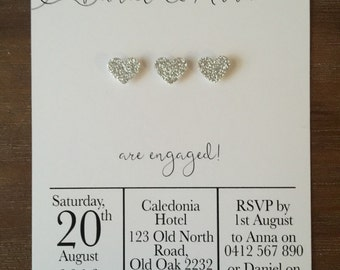 "Engagement Party Invitations Handmade Personalised ""SPARKLING HEART"""