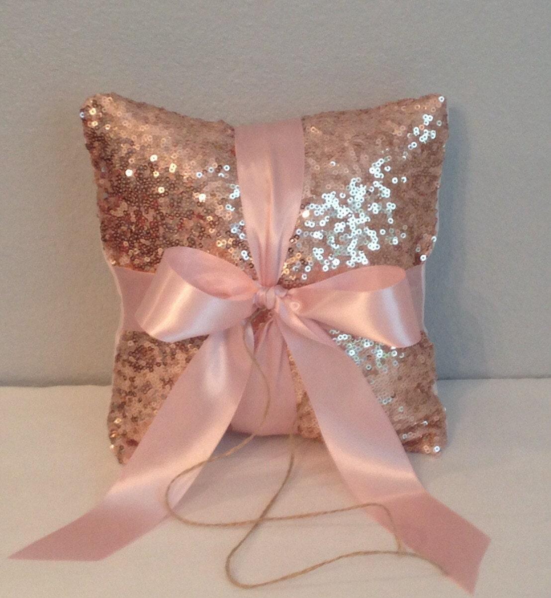 Sequin/Satin Wedding Ring Bearer Pillow. Blush Champagne | Etsy