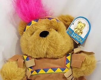 "Kellytoy Playpets Vintage Indian Teddy Bear Plush Stuffed Animal Brown 8"""