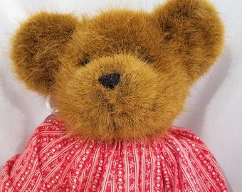 TC Dawson by Fiesta Campbell Teddy Bear Plush Stuffed Animal Brown Red Dress Daisy