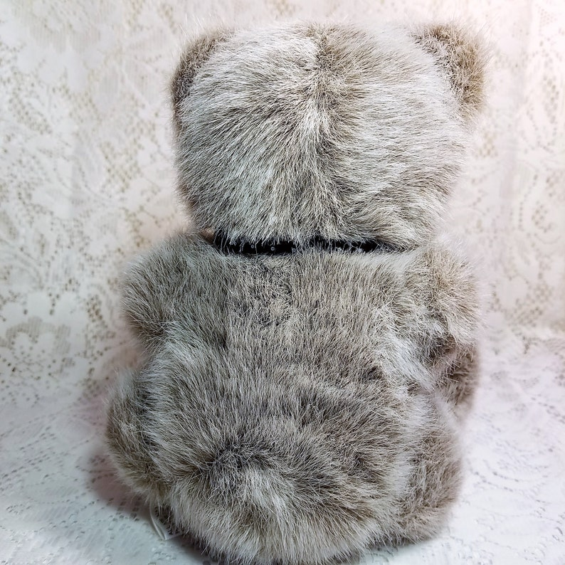 Target Dayton Hudson Teddy Bear Plush Stuffed Animal Vintage Gray 9 tall with Black Bow