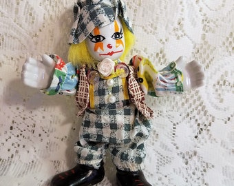 Porcelain Clown Doll, Figurine, Hobo, Circus Clown Vintage, Bendable, Big Hands