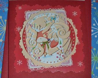 Christmas card - Reindeer fox