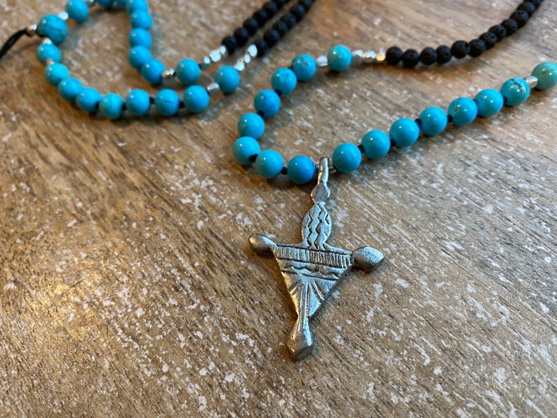 vintage silver pendant Tuareg Cross Beaded necklace