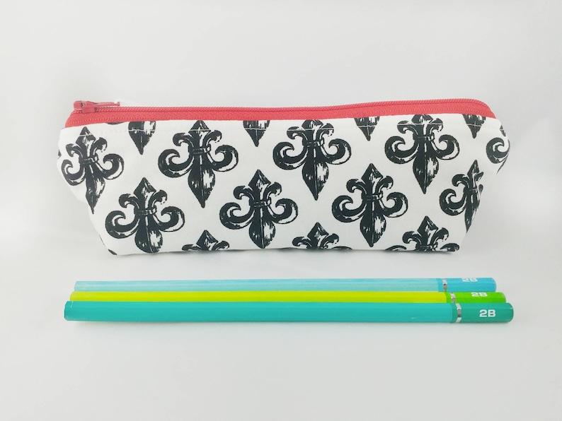 Back-to-School Pouch Triangle Pencil Case BLACK PAISLEY DESIGN Pencil Case Zipper Pen Case