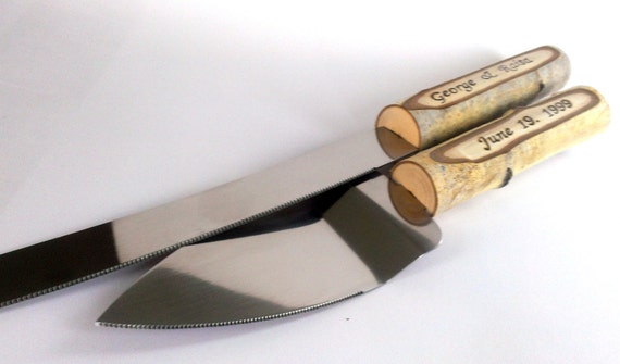 Rustic Country Chic Wedding Knife Set Natural Birch Branch Etsy