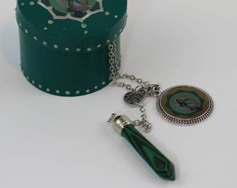 "Angeloudia Pendulum Necklace ""Raphael"" Malachite Gemstone green Healing Angel Pendant Box Dowsing Divination Altar Tool Kit Jewelry Set"
