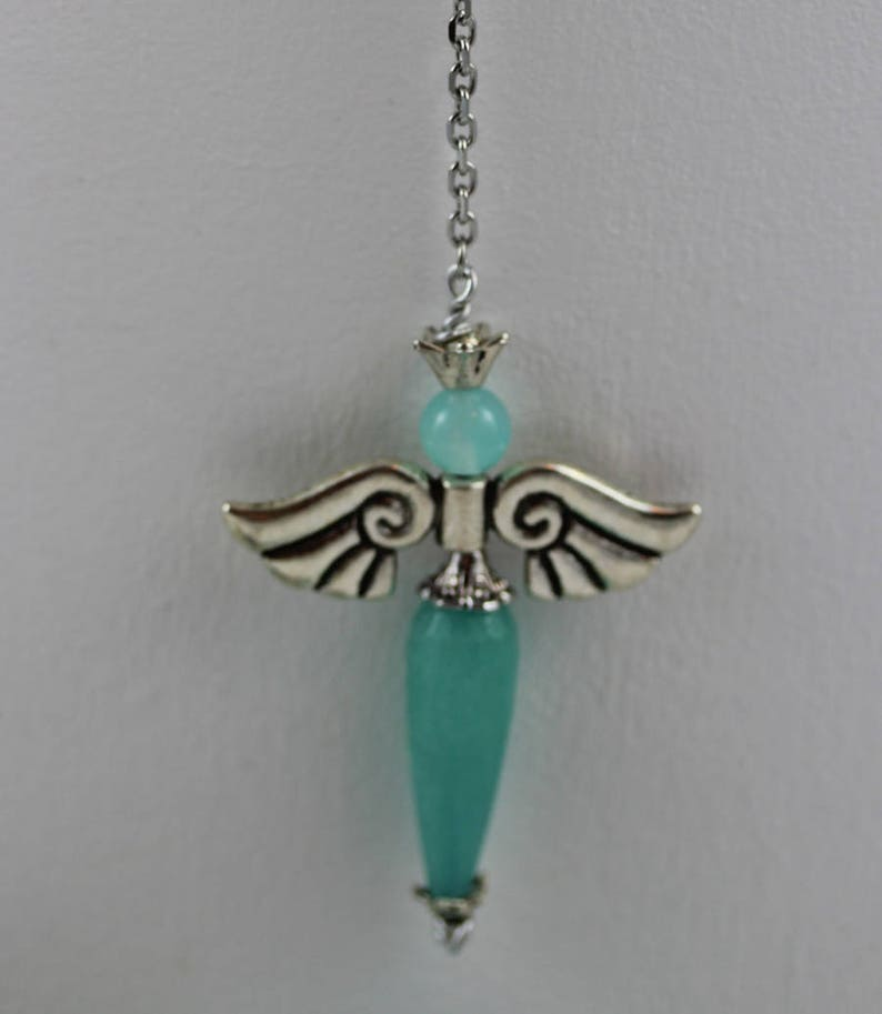 Archangel Raquel Jade Gemstone Jewelry and Dowsing and Divination Kit Light Cian Teal Blue Angel Pendulum Necklace Raguel with Lotus Flower