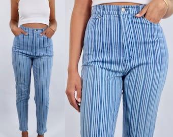 Vintage 80s 90s Blue Stripe Striped High Waist Stretch Pants   Size S-M   AU/UK 8-10   US 4-6