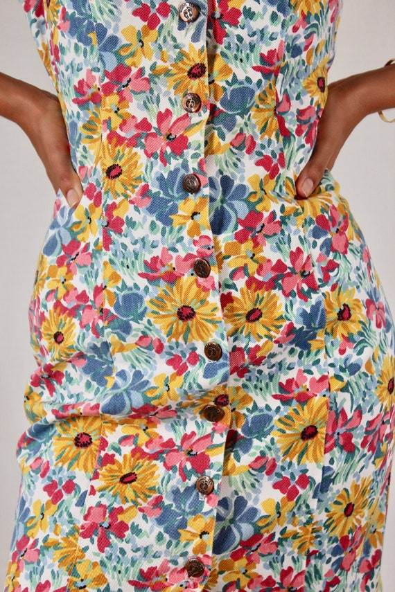 Vintage 80s/90s Bright Floral Print Denim Mini Dre