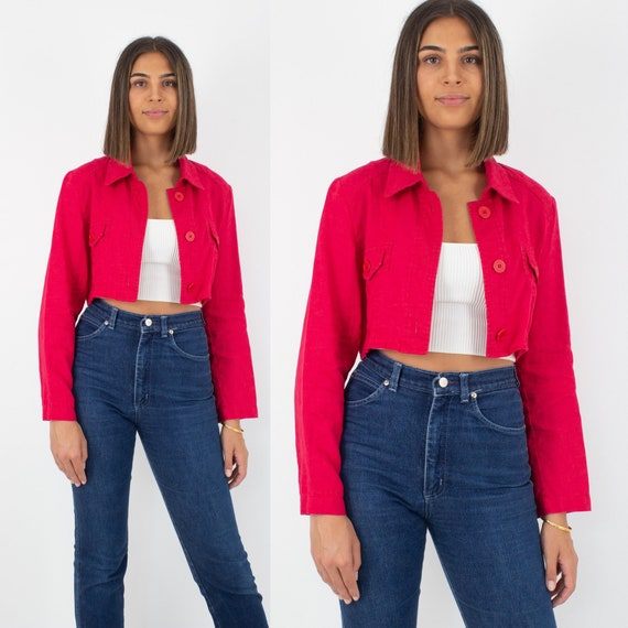 Bright Red Cropped Linen Jacket Shirt Blouse | Pur