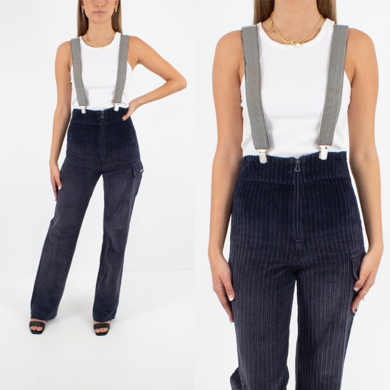 70s 1970s Navy Blue Stretch Cord Suspender Workwea