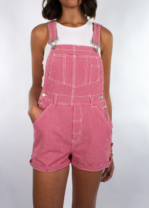 Vintage 90s Gingham Red White Check Overalls Wome… - image 3