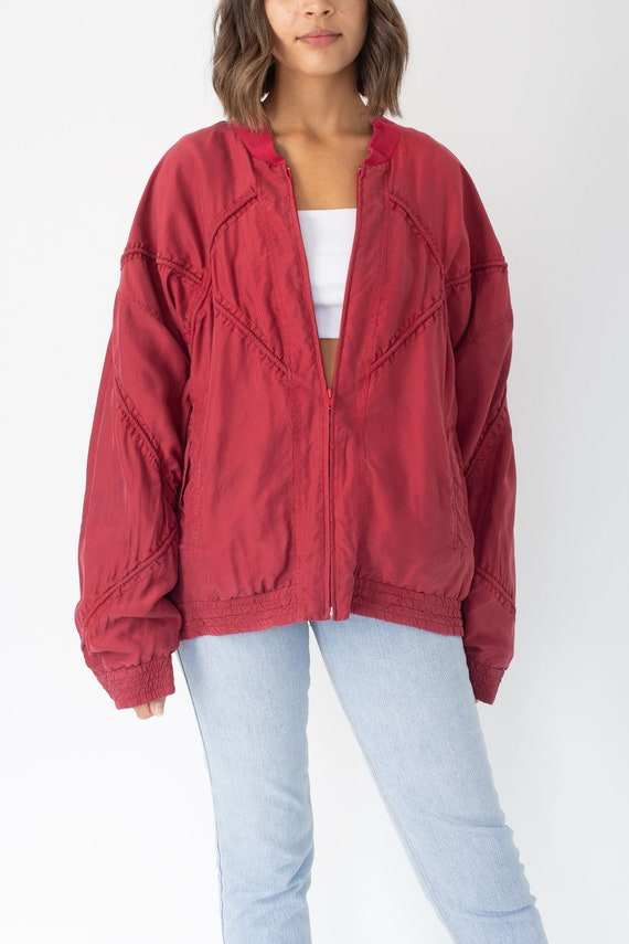 Red Pure Silk Bomber Jacket Unisex Womens Mens - F