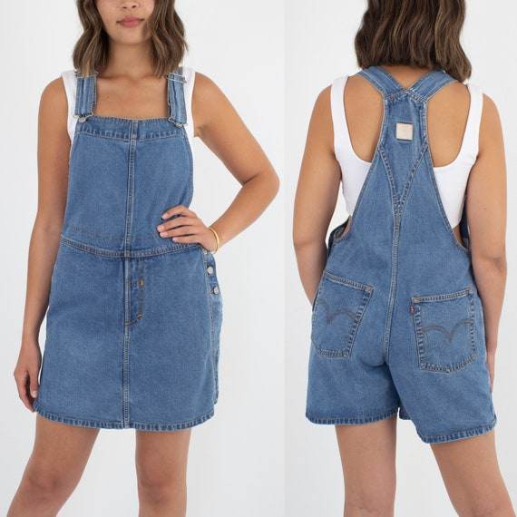 90s Womens Girls Levis Blue Denim Short Overalls D