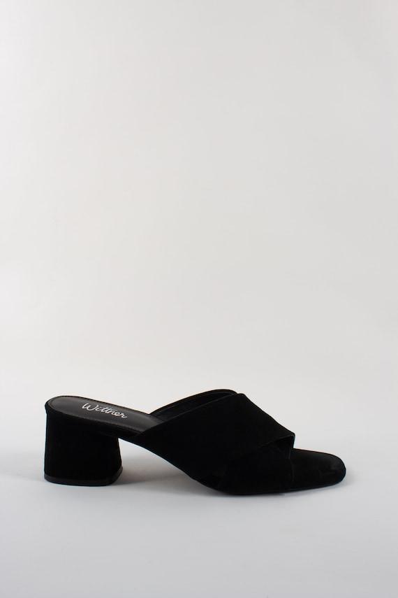 Vintage 90s Black Suede Leather Mules Kitten Heel