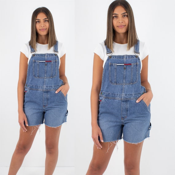 90s 1990s Tommy Hilfiger Short Denim Overalls - Wo