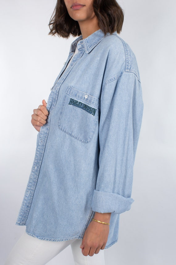 Harley Davidson Shirt Dress in Light Blue Denim -