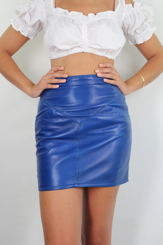 Leather Skirt // High Waist Leather Mini Skirt //