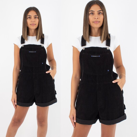 90s 1990s Black Cord Corduroy Short Overalls | Wom