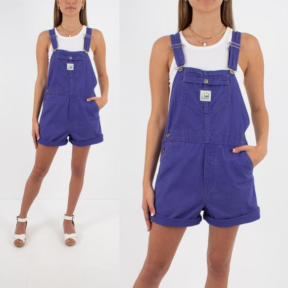 90s 1990s Purple LEE Cotton Denim Short Overalls |