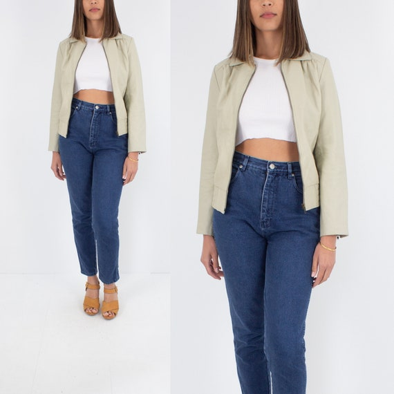 60/70s Style Beige Leather Jacket   Mod Leather Ja
