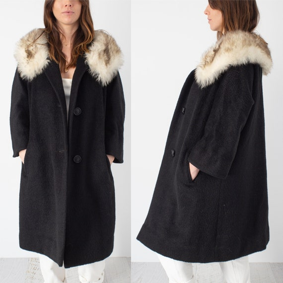 Wool & Mohair Black Coat with Faux Fur Trim - Free