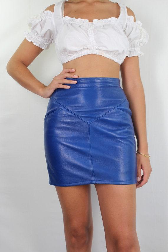 Leather Skirt // High Waist Leather Mini Skirt //… - image 2