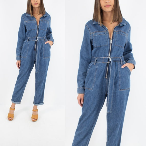 70s 1970s Style Dark Blue Denim Jumpsuit Playsuit