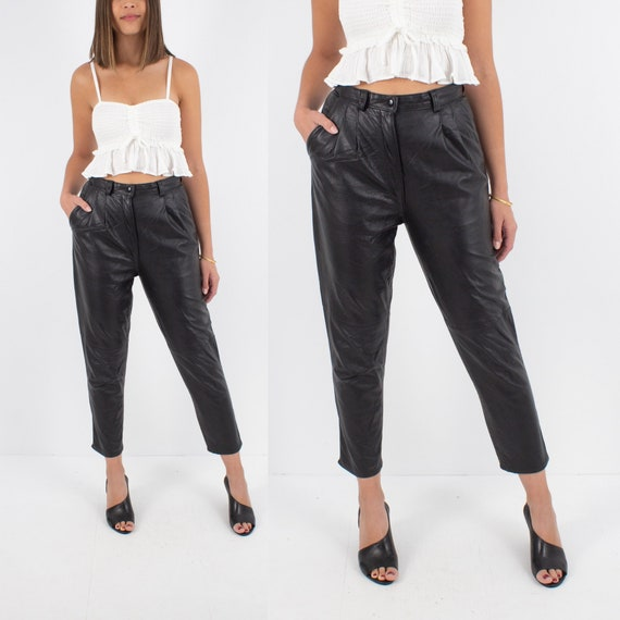 80s 1980s Black Leather High Waist Pants Trousers