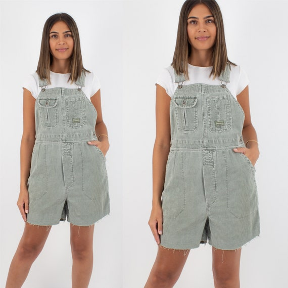 90s 1990s Mint Green Corduroy Short Overalls Dunga