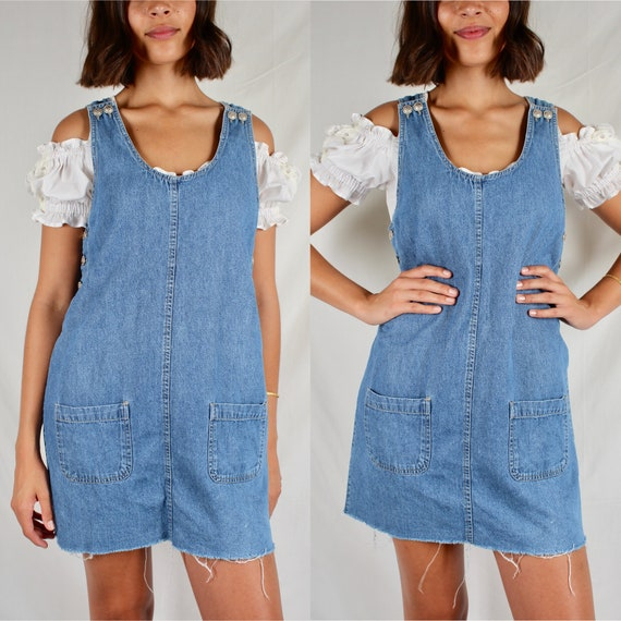 Vintage Denim Dress // 90s Denim Mini Dress // 90s