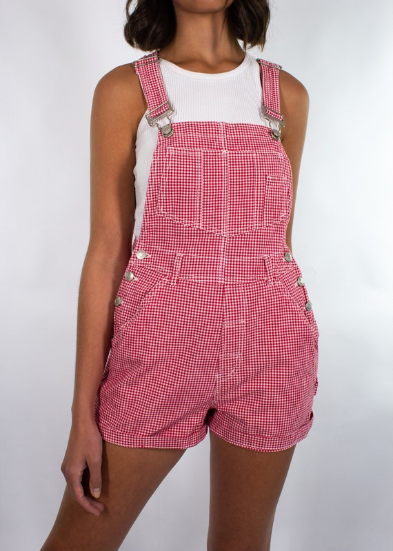 Vintage 90s Gingham Red White Check Overalls Wome… - image 9