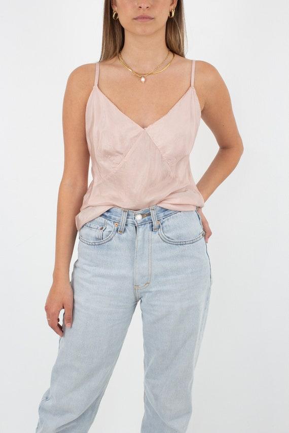 Blush Pale Pink Pure Silk Camisole Cami Singlet Ta
